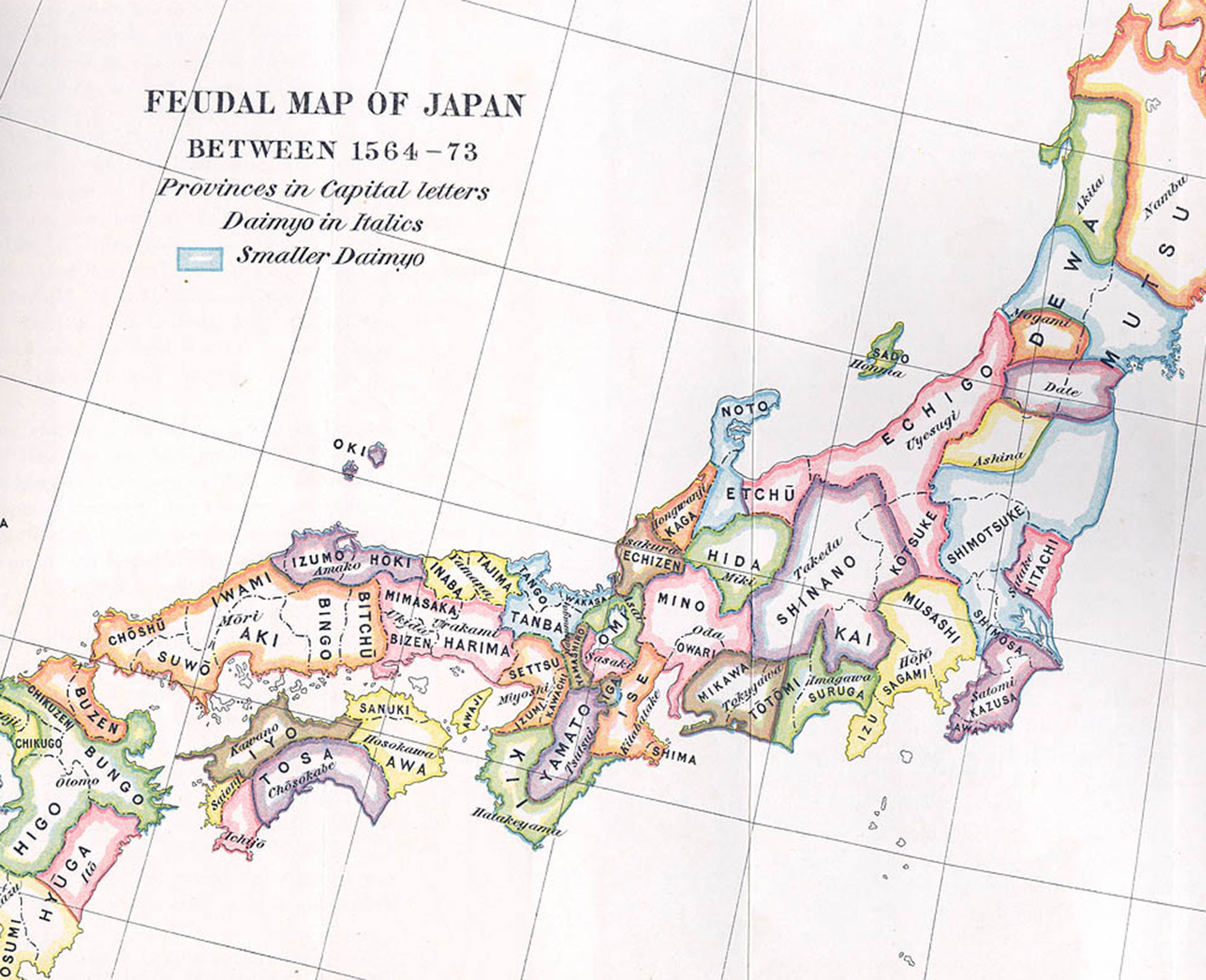 Color feudal map of Japan, e-Asia Digital Library