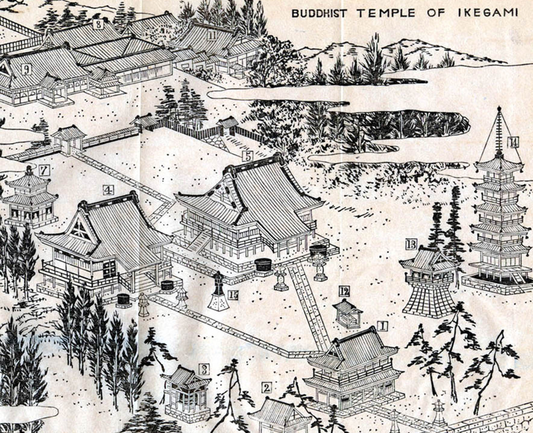 Monochromatic drawing of Buddhist temple of Ikegami, e-Asia Digital Library