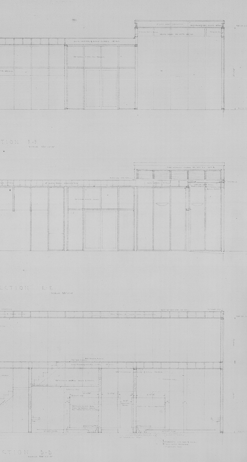Section Sketch of House, John Yeon architectural drawings, 1934-1976