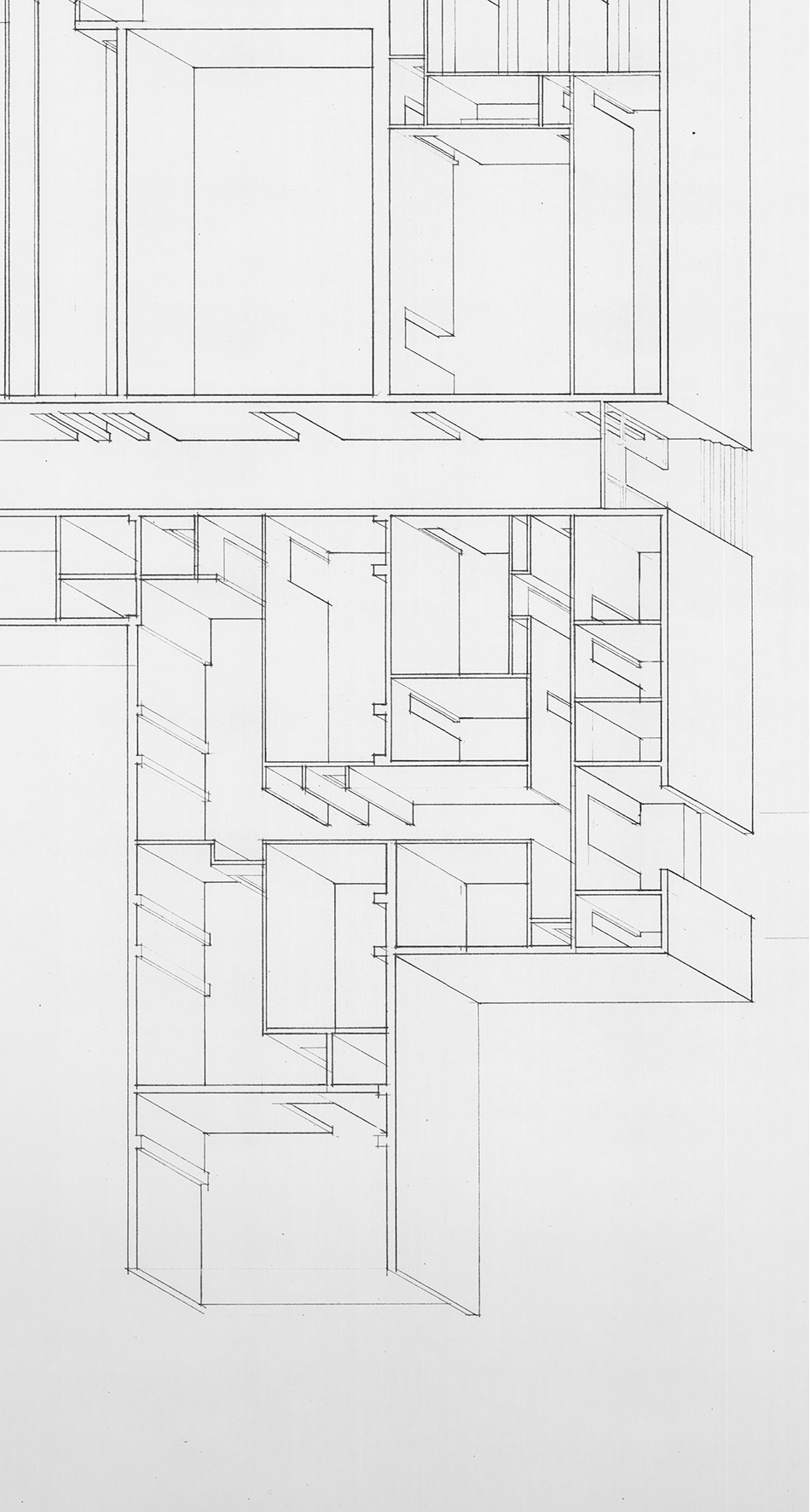 Isometric Drawing in Pencil of Lodge, John Yeon architectural drawings, 1934-1976