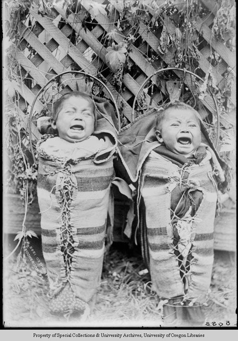 The Cayuse Twins, in cradles, crying, Moorhouse Collection, PH036-5052, Picturing the Cayuse, Walla Walla, and Umatilla Tribes