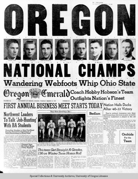 Men's Basketball - National Champs, UO Athletics