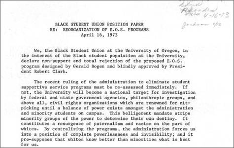 Black Student Union Position Paper re: reorganization of E.O.S. programs, UO Office of the President