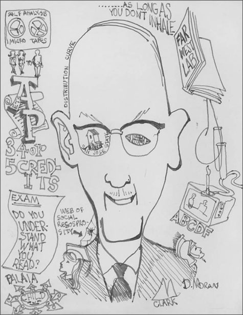 Caricature drawing of Robert D. Clark, UO Office of the President
