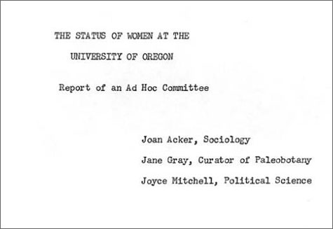 Report: The Status of Women at the University of Oregon, UO Office of the President