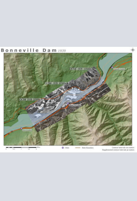 Bonneville Dam: 1939 Aerial Photographs, Map & Aerial Photography Collection, Western Waters Digital Library