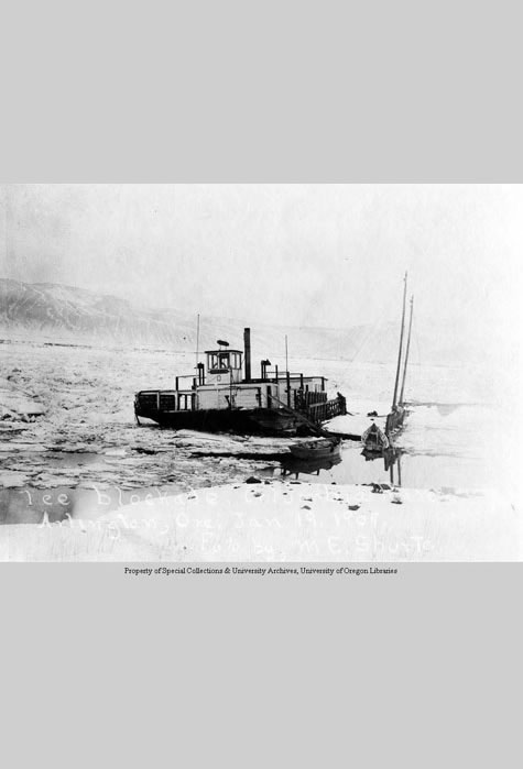 Ice blockade, Columbia River. Arlington, Ore. Jan. 19, 1909, Print Collection, Western Waters Digital Library