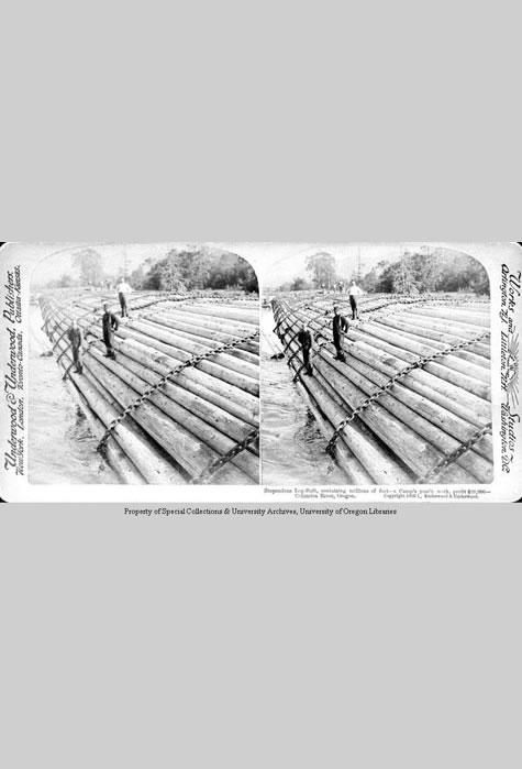 Stupendous Log-Raft, containing millions of feet, Print Collection, Western Waters Digital Library