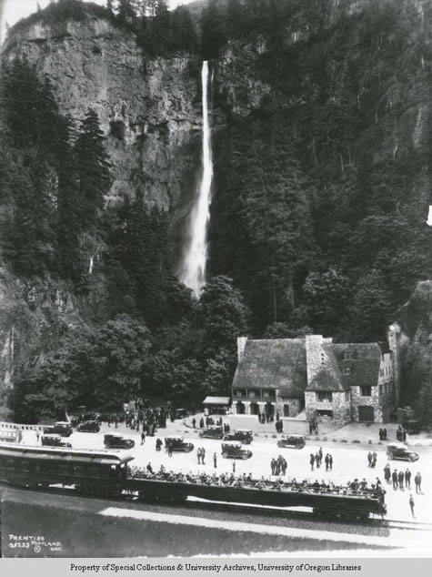 View of Multnomah Falls, Angelus Studio Collections, Western Waters Digital Library