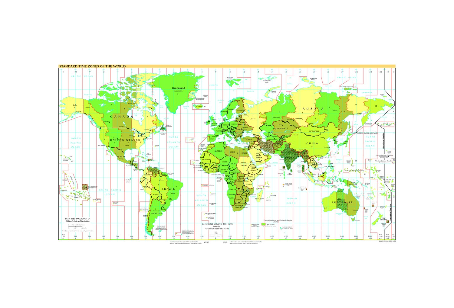 Map Of Asia Time Zones.Standard Time Zones Of The World E Asia Digital Library Oregon
