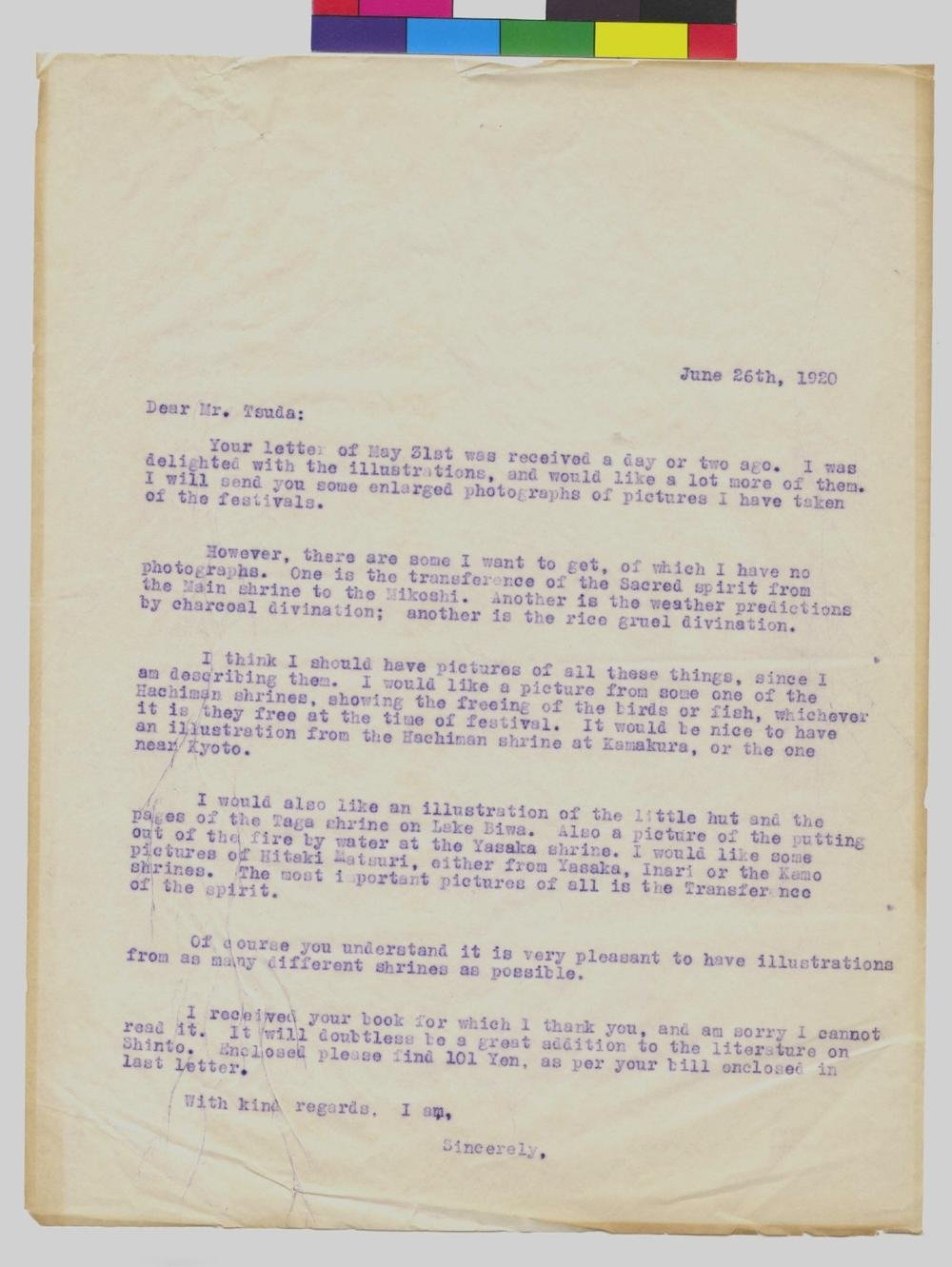 Letter To Mr Noritake Tsuda From Mrs Murray Warner Dated June 26 1920