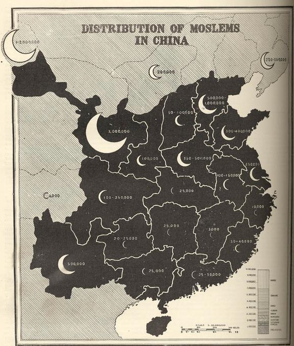 Distribution of Moslems in China
