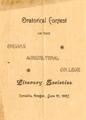 Program created for an oratorial contest sponsored by the OAC literary societies, June 1897