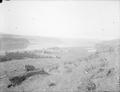 View of Maryhill, Wa., and Columbia River, from Samuel Hill property.  Two steamboats moored at town