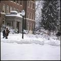 Students on the way to class on a snowy day