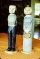 Immigrant couple, 15 in and 16 in tall. Pine. Acrylic.
