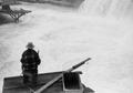 Man fishing at Celilo Falls on the Columbia River