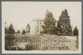 Cadet regiment inspection formation below Benton Hall, circa 1915