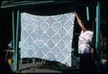 50 x 70 inch blue and white unfinished crocheted spread. Also started about three years ago