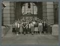 The physical education club on the steps of the Women's Building, 1940
