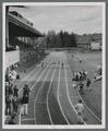 High school meet, hurdles, circa 1960