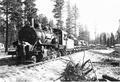 Train load of logs leaving Brooks-Scanlon camp, Deschutes County