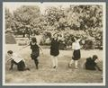 Physical education dance group outside on the lawn, circa 1930