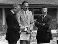 Mark Hatfield, Robert W. MacVicar, and John Byrne at Hatfield Marine Science Center dedication in 1983.