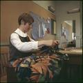 A Home Economics student works on a sewing project