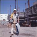 A construction worker at the Nash Hall building site