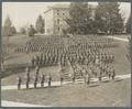 OAC cadets standing in formation near the Administration Building