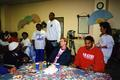 Portland Trail Blazers players and staff visit the Senior Center