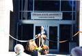 Henry Sayre speaking at the dedication of Cascades Hall