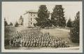 Cadet regiment forming up for review, Benton Hall in background, circa 1915