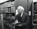 Linus Pauling with OSU Archivist Rolf Swensen in the Archives