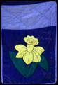 77 x 88 inch appliqué daffodils made by Dahlia Barrera about 1971 in Woodburn, filled with hand carded wool from Asherton, Texas