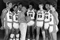 Coach Ralph Miller with the OSU basketball team