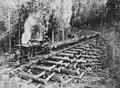 Locomotive pulling railroad cars with logs over a crib trestle