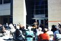 Speaker and crowd at the dedication of Cascades Hall