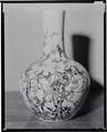 Large GloBular Vase with Long Neck and Decoration of Birds on Plum Branches