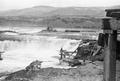 Man fishing on platform at Celilo Falls on the Columbia River