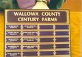 Plaque listing Wallowa County Century Farms