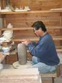 Hiroshi Ogawa at work in his pottery studio
