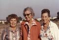 Edith (Whitelock) Lowe, Agnes Behrens and Gertrude (Ellis) Elmore, 1980.