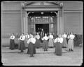 Women's physical culture class, outside of Mechanical Hall, circa 1896